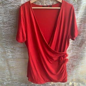 Strazzi red short sleeve cross over blouse